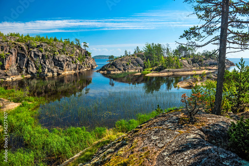 rocky islands of Ladoga lake Fototapet