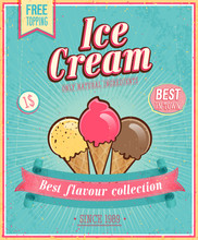 Vintage Ice Cream Poster. Vector Illustration.
