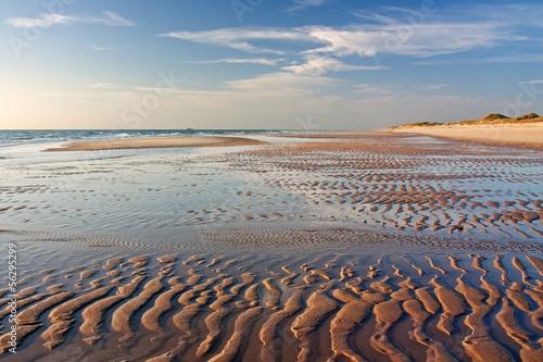 Garden Poster North Sea Sandwatt mit Rippelmarken im Abendlicht am Weststrand von Sylt