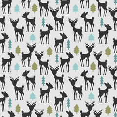 FototapetaSeamless pattern with deer and trees