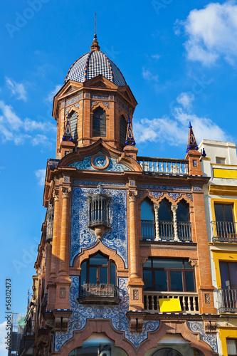 Stickers pour porte Pierre, Sable Sevilla Spain architecture