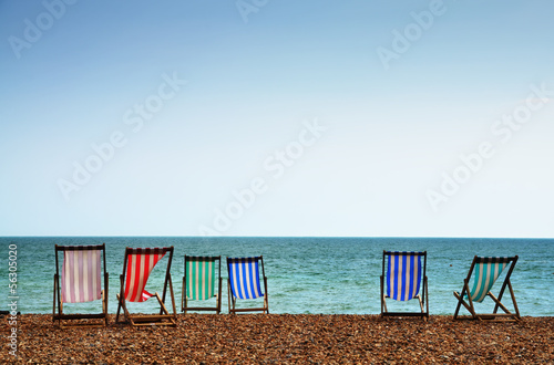 Deckchairs on Brighton Beach Canvas Print