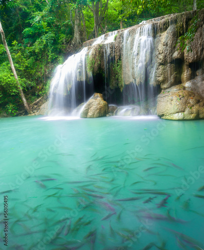 Spoed Fotobehang Watervallen Erawan Waterfall, Kanchanaburi, Thailand