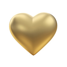 Golden Heart On White With Clipping Path