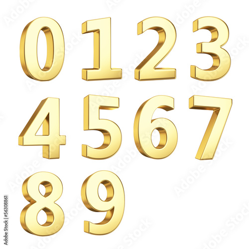 Fototapeta 3D numbers isolated with clipping path on white