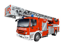 Rotes Feuerwehr Auto Isoliert