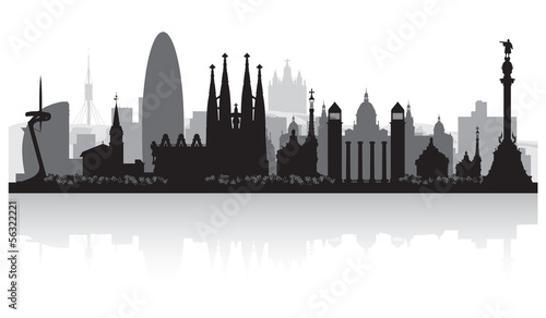 Photo  Barcelona Spain city skyline silhouette