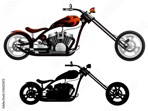Fotografija Motorcycle. Red and black chopper.