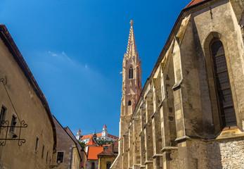Fototapeta na wymiar View of Clarissine Church and the Castle in Bratislava