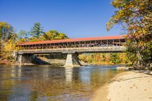 Covered Bridge In Autumn And R...