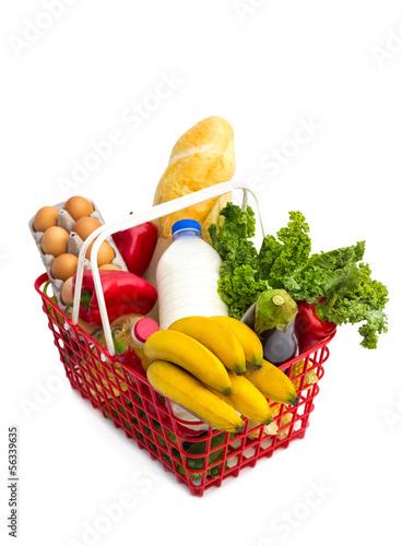 Fotografie, Obraz  Shopping basket full of fresh colorful groceries