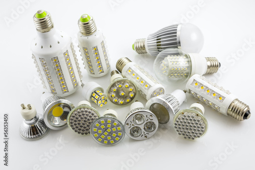 Valokuva  LED lamps GU10 and E27  with a different chip technology also co