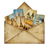 vintage envelope with travel cards