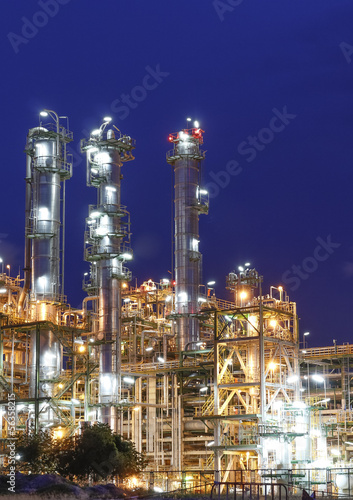 Aluminium Prints Industrial building Night scene of Petrochemical factory