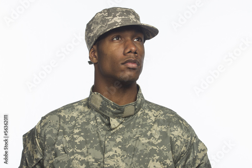 Canvastavla African American military man, horizontal