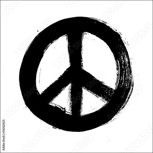 Foto  Isolated hand drawn peace symbol brush style composition EPS10 f