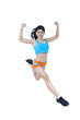 Excited fitness woman jumping