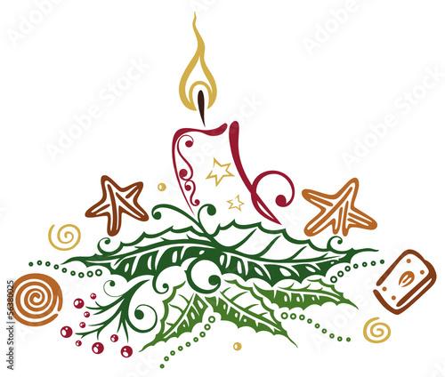 Weihnachtsplätzchen Clipart.Weihnachtsgesteck Zum Advent Kerze Mit Ilix Und Plätzchen Buy