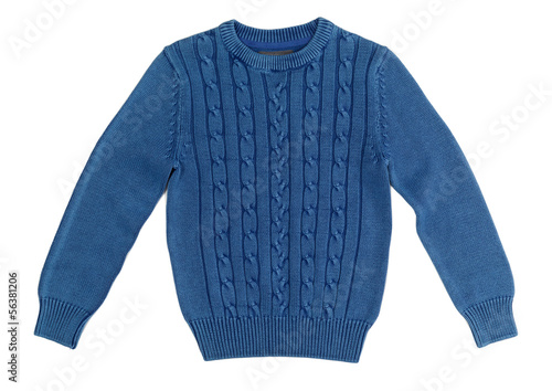 Blue warm knitted sweater with a pattern Canvas Print