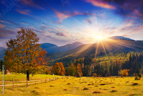 Colorful autumn sunset in the mountains.
