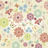 Flowers and butterflies seamless