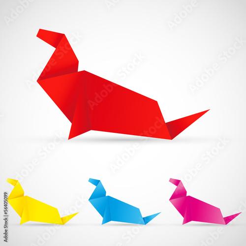 Poster Geometrische dieren Origami Seelöwe