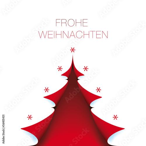 Fotografía  helle Weihnachtskarte roter baum mit Frohe Weihnachten