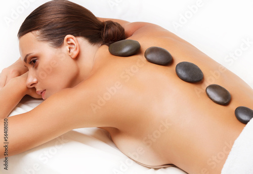 Akustikstoff - Stone Massage. Beautiful Woman Getting Spa Hot Stones Massage. S (von puhhha)