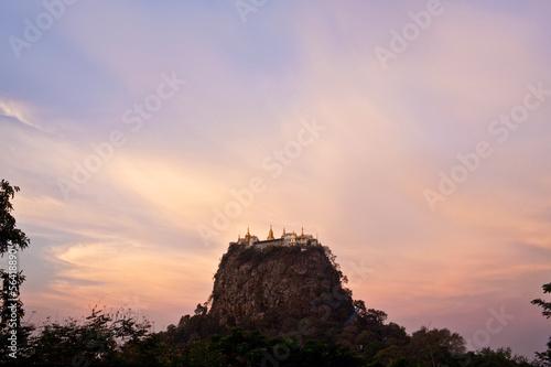 Taungkalat monastery and Mount Popa view at sunrise, Myanmar Wallpaper Mural