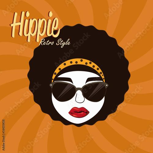 Fotobehang Vrouw gezicht hippies design