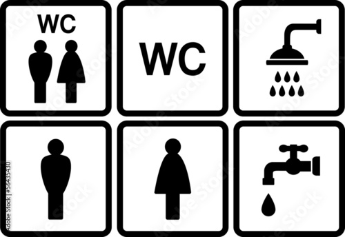 Photo  set of wc icons with shower and tap
