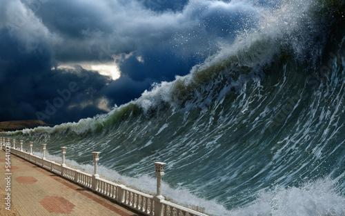 Poster de jardin Tempete Tsunami waves
