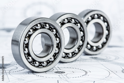Ball bearings on technical drawing Canvas Print