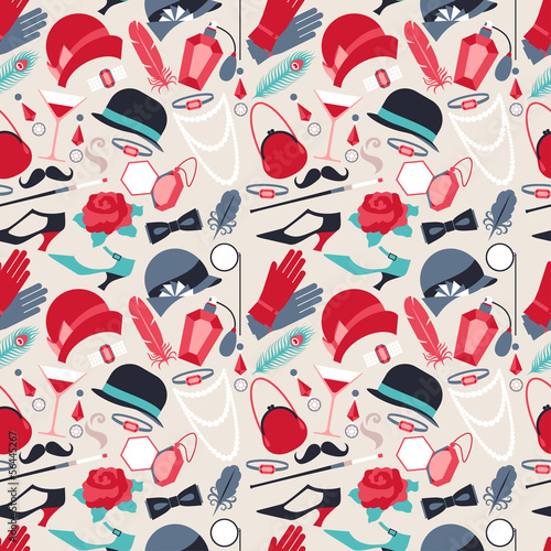 Cotton fabric Retro of 1920s style seamless pattern.