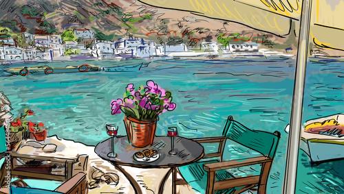 Obraz na płótnie Letni taras kawiarni - ilustracja