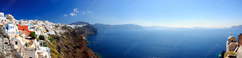 Fototapety, obrazy: Panoramic view of Santorini village and volcanic bay, Greece