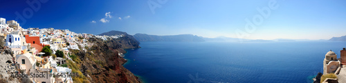 Panoramic view of Santorini village and volcanic bay, Greece