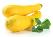 Raw Yellow Zucchini With Leaves, Isolated On White