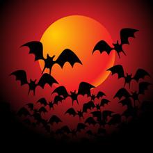 Halloween Background With Full Orange Moon - Vector Illustration