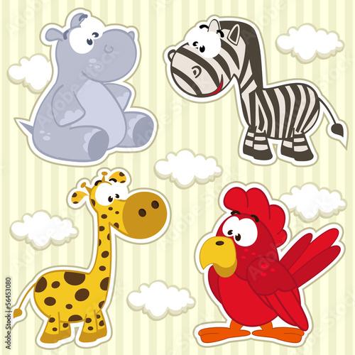 zestaw-ikon-zwierzecy-hipopotam-zyrafa-zebra-papuga-wektor