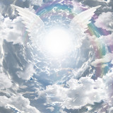 Angelic presence in tunnel of light