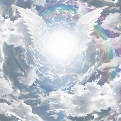 Fototapeta Do kościoła Angelic presence in tunnel of light
