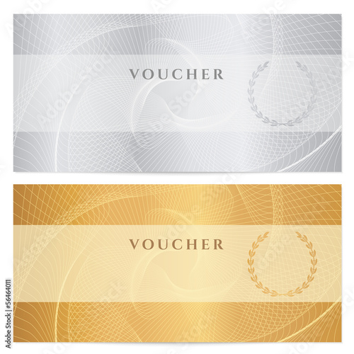 Valokuva Voucher, Gift certificate, Coupon, Ticket. Guilloche pattern