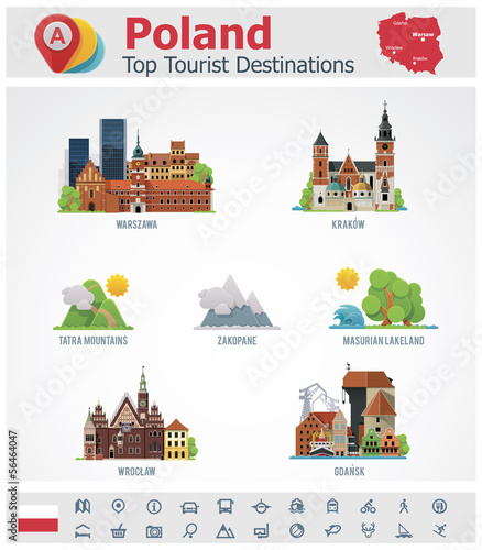 Fotografía  Vector Poland travel destinations icon set