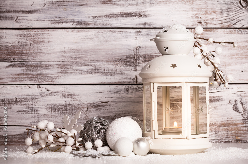 Foto-Lamellen (Lamellen ohne Schiene) - Cristmas lantern with snow