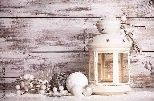 Foto-Schmutzfangmatte - Cristmas lantern with snow (von oksix)