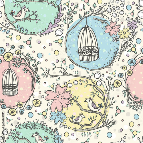 Recess Fitting Birds in cages Seamless pattern with birdcages, flowers and birds.