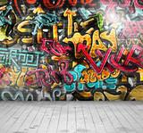 Fototapeta Teenage - Graffiti on wall