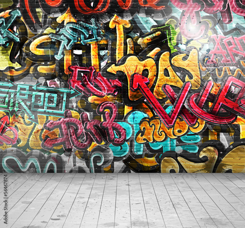 Graffiti on wall Canvas Print