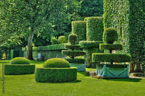 France, the picturesque Jardins du Manoir d Eyrignac in Dordogne Canvas Print